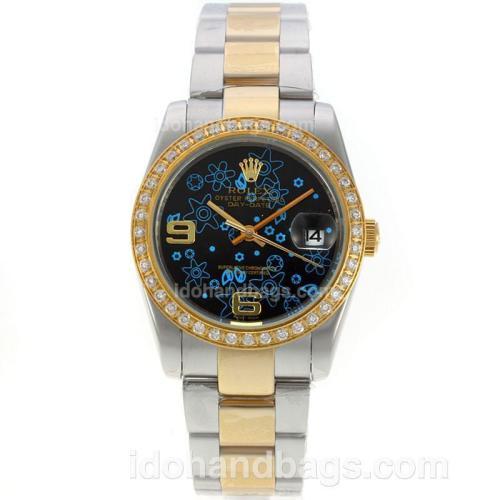 Rolex Datejust Automatic Two Tone Diamond Bezel with Black Floral Motif Dial-Sapphire Glass 130444