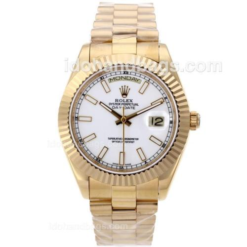 Rolex Day-Date II Swiss ETA 2836 Movement Full Gold Stick Markers with White Dial 61164