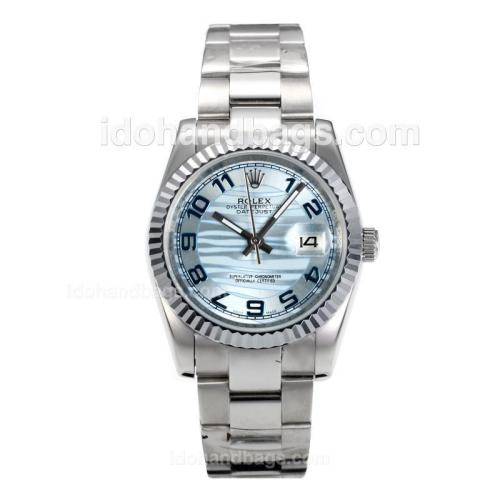 Rolex Datejust Automatic Number Markers with Light Blue Waved Dial S/S 160002