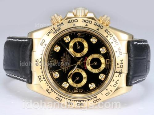 Rolex Daytona Automatic 18K Gold Plated Case with Black Dial 12950