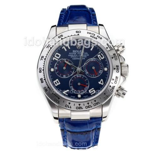 Rolex Daytona Super Luminous Chronograph Swiss Valjoux 7750 Movement with Blue Dial-Leather Strap-Sapphire Glass 187114