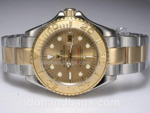 Rolex Yacht-Master Automatic Two Tone with Golden Dial 10586