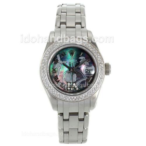 Rolex Masterpiece Swiss ETA 2671 Movement Diamond Bezel Roman Markers with MOP Dial-Flowers Illustration 116294
