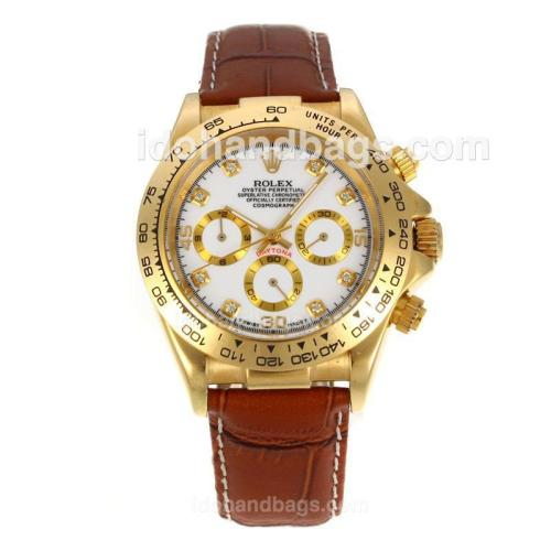 Rolex Daytona Automatic 18K Gold Plated Case with White Dial 12946