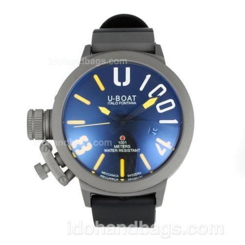 U-Boat Italo Fontana Automatic Titanium Case with Dark Blue Dial-Yellow Markers 167090