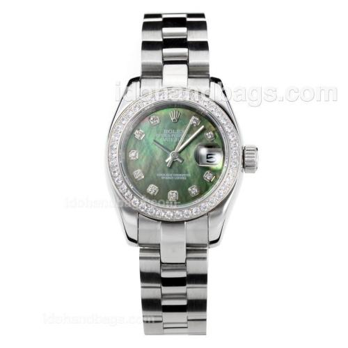 Rolex Datejust Automatic Diamond Bezel with Dark Green MOP Dial S/S-Same Chassis as ETA Version 176378