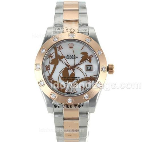 Rolex Datejust II Automatic Two Tone Diamond Markers with MOP Dial-Flowers Illustration 111624