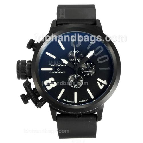 U-Boat Italo Fontana Working Chronograph Full Black with Black Dial-White Markers 163184