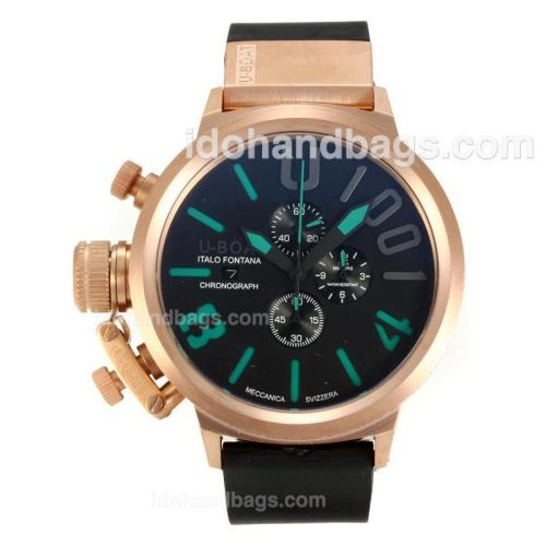 U-Boat Italo Fontana Working Chronograph Rose Gold Case with Black Dial-Green Markers 163166