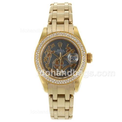 Rolex Masterpiece Swiss ETA 2671 Movement Full Gold Diamond Bezel Roman Markers with MOP Dial-Flowers Illustration 116238