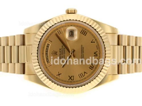 Rolex Day-Date II Swiss ETA 3156 Movement Full Gold Roman Markers with Golden Dial 45147