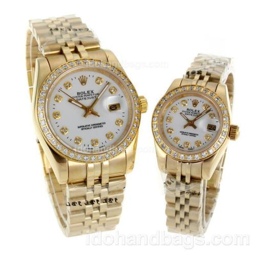 Rolex Datejust Automatic Full Gold Diamond Bezel and Markers with White Dial-Sapphire Glass 116578