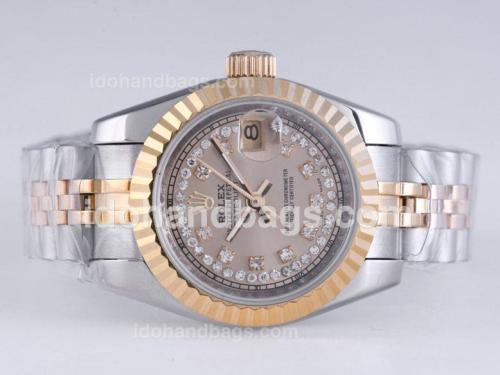 Rolex Datejust Automatic Two Tone Diamond Marking with Golden Dial 25948