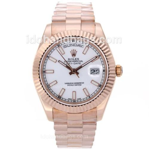 Rolex Day-Date II Swiss ETA 2836 Movement Full Rose Gold Stick Markers with White Dial 61160