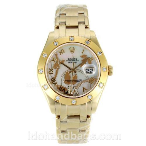Rolex Masterpiece Swiss ETA 2671 Movement Full Gold Diamond Bezel Roman Markers with MOP Dial-Flowers Illustration 115602
