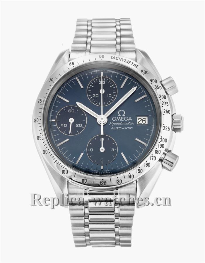 Omega Speedmaster Date Stainless Steel Strap Blue Dial 38MM 3811.80.03
