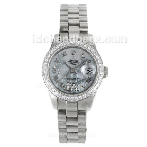 Rolex Datejust Automatic Diamond Bezel Roman Markers with White MOP Dial-Flowers Illustration 116248