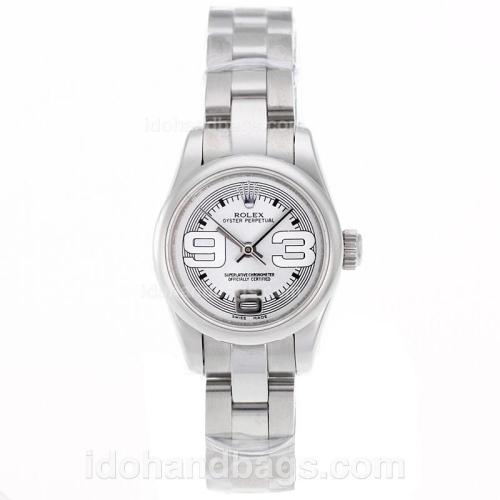 Rolex Air-King Swiss ETA 2671 Movement with White Dial S/S-Lady Size 72084