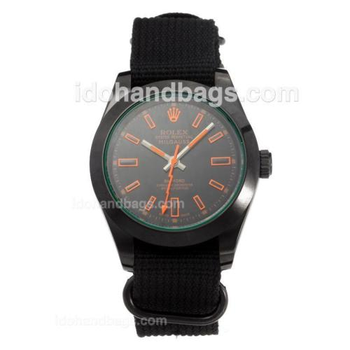Rolex Milgauss Automatic PVD Case with Black Dial-Black Cloth Strap 203686