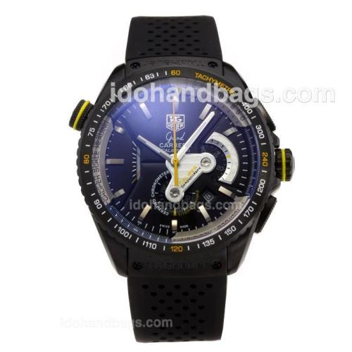 Tag Heuer Grand Carrera Calibre 36 Working Chronograph PVD Case with Black Dial-Rubber Strap 203380