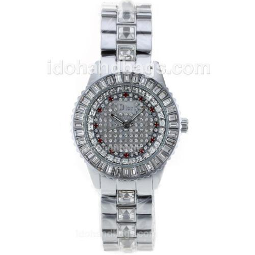 Dior Austria Crystal Ladies Watch Silver Authentic Ceramic with White Diamond Dial 50259
