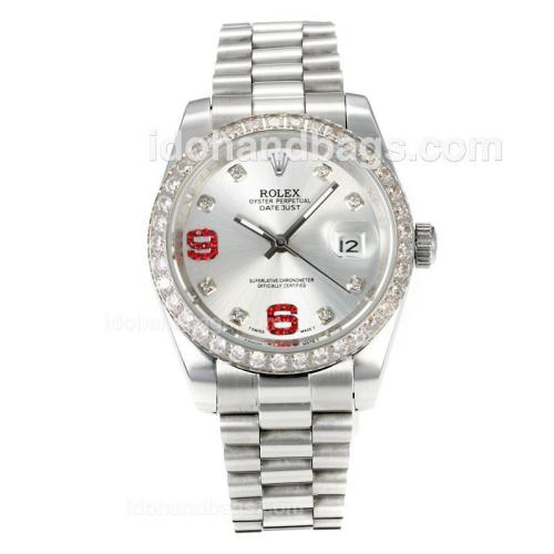 Rolex DateJust II Automatic Diamond Bezel with Silver Dial S/S-Diamond Markers 167720