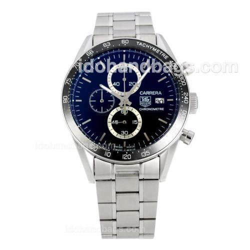 Tag Heuer Carrera Working Chronograph Ceramic Bezel with Black Dial S/S-Sapphire Glass 149058