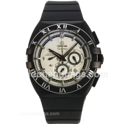 Omega Constellation Double Eagle Working Chronograph PVD Case with White Dial-Rubber Strap 139548