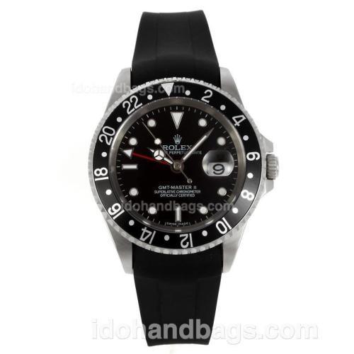 Rolex GMT-Master II Swiss ETA 2836 Movement Black Bezel with Black Dial-Rubber Strap 130500