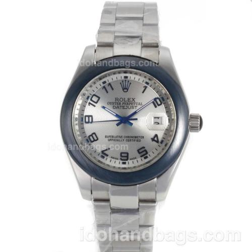 Rolex Datejust II Automatic Ceramic Bezel Number Markers with Silver Dial-S/S 98176