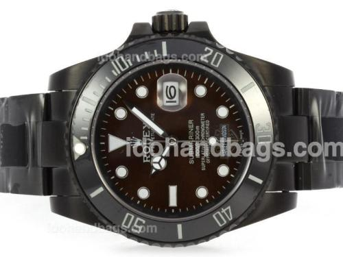 Rolex Submariner Harley Davidson Automatic Full PVD with Brown Dial-Ceramic Bezel 41115
