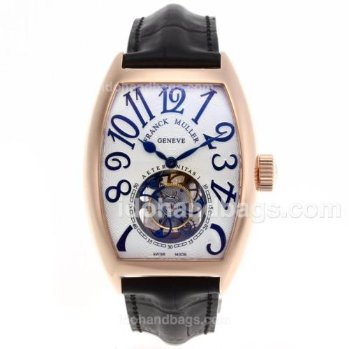 Franck Muller Aeternitas Working Tourbillon Manual Winding Rose Gold Case with White Dial-Leather Strap 51953