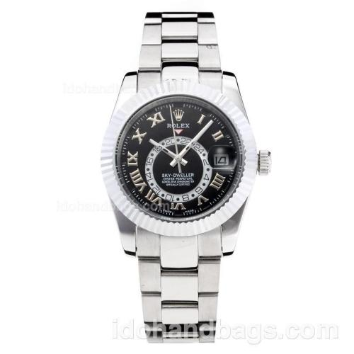 Rolex Sky Dweller Automatic with Black Dial S/S(Gift Box is Included) 202984
