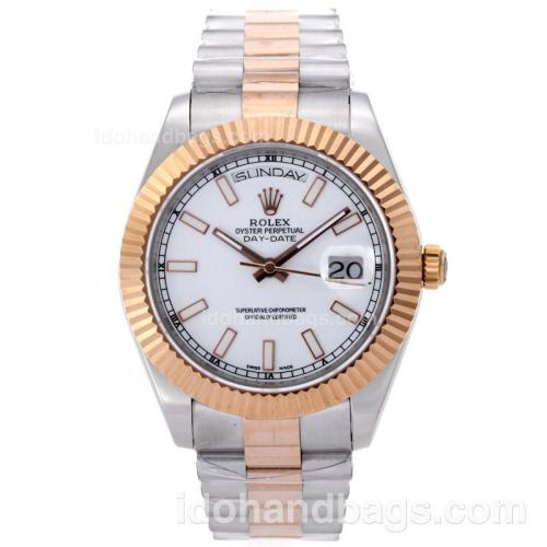 Rolex Day-Date II Swiss ETA 2836 Movement Two Tone Stick Markers with White Dial 61162