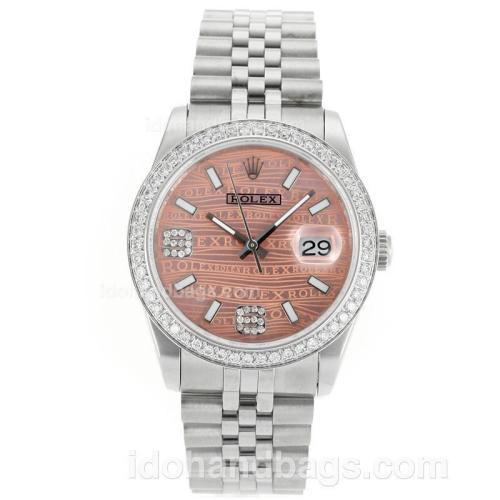Rolex Datejust Swiss ETA 2836 Movement Diamond Bezel with Pink Watermark Dial S/S 112334
