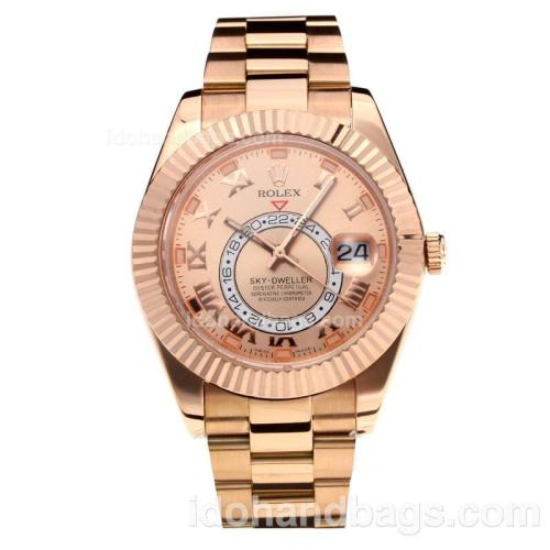 Rolex Sky Dweller Automatic Full Rose Gold with Champagne Dial-Roman Markers-Same Chassis as the Swiss Version 195260