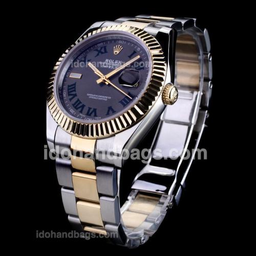 Rolex Datejust II Automatic Two Tone Green Roman Markers with Gray Dial 122916
