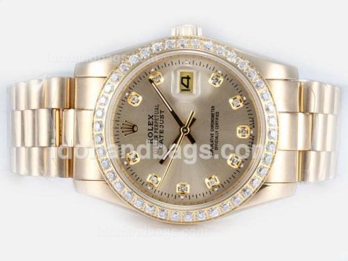 Rolex Datejust Automatic Full Gold with Diamond Bezel and Marking-Golden Dial 17490
