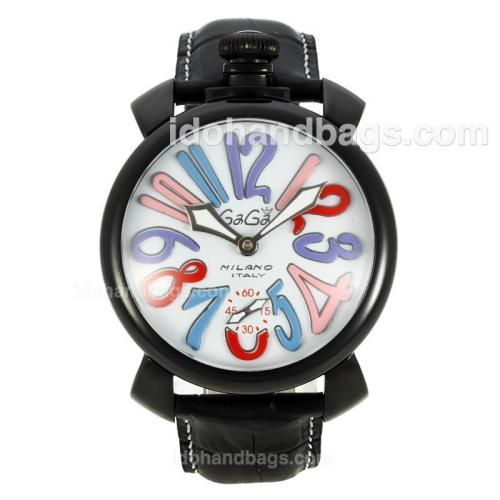Gaga Milano Unitas 6497 Movement PVD Case Multicolor Number Markers with White Dial-Leather Strap 126758