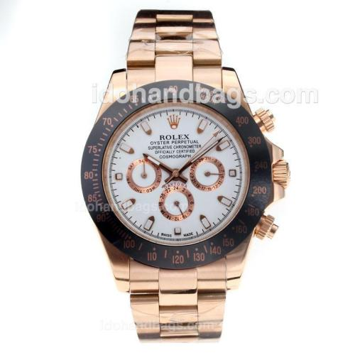 Rolex Daytona II Oyster Perpetual Automatic Rose Gold Case Ceramic Bezel with White Dial 189152