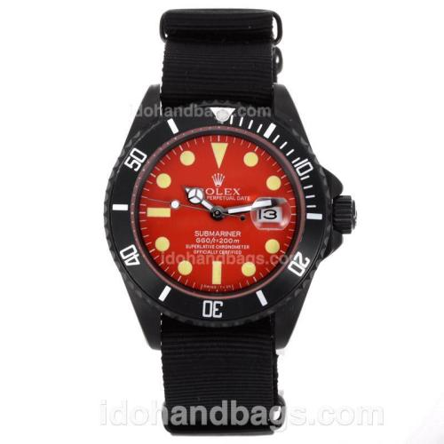 Rolex Submariner Automatic PVD Case with Red Dial-Nylon Strap 55862