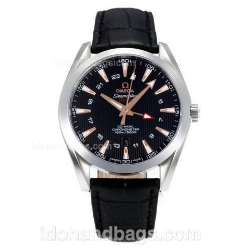 Omega Seamaster Working GMT Swiss ETA 2836 Automatic with Black Dial-Sapphire Glass-Champagne Markers 171452
