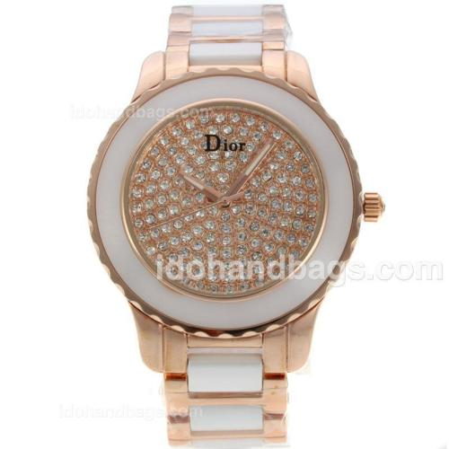 Dior Christal Ladies Watch Rose Gold/White Ceramic Two Tone with Diamond Dial 135948