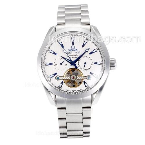 Omega Seamaster Tourbillon Automatic with White Dial S/S-Blue Markers 168270