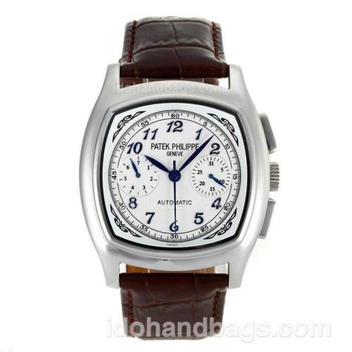 Patek Philippe Classic Automatic Blue Number Markers with White Dial-Leather Strap 106314