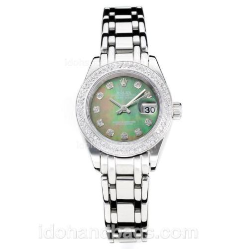 Rolex Masterpiece Automatic Diamond Bezel with Dark Green MOP Dial S/S-Same Chassis as ETA Version 177144