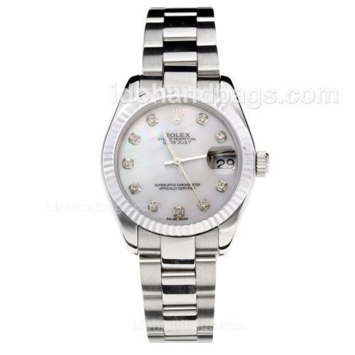Rolex Datejust Swiss ETA 2355 Automatic Movement with White Shell Dial S/S-Stone Markers-Sapphire Glass 195234