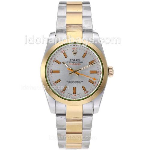 Rolex Milgauss Automatic Two Tone Orange Markers with Silver Dial 62008