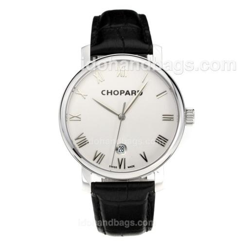 Chopard Classic Swiss ETA 2824 Automatic with White Dial-Leather Strap-Sapphire Glass 194344