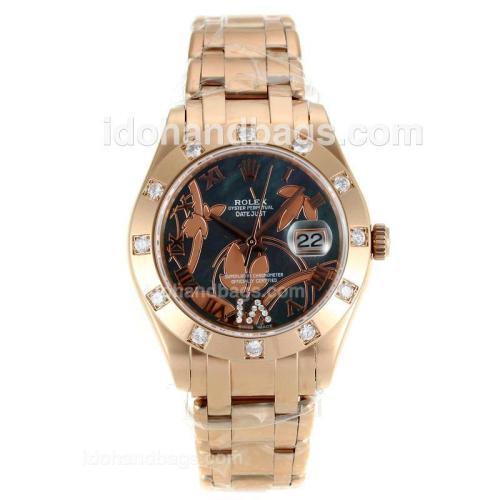 Rolex Masterpiece Swiss ETA 2671 Movement Full Rose Gold Diamond Bezel Roman Markers with MOP Dial-Flowers Illustration 115618